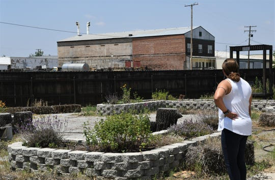 FoodLink for Tulare County Executive Director Nicole Celaya surveys the Exeter food bank's community garden. She is asking the community for help after a string of recent robberies has jeopardized the charity's ability to deliver food to needy families.