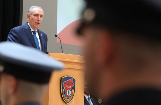 District Attorney Anthony Scarpino, Jr.  speaks at the 147th Westchester County Police Academy graduation ceremony at Westchester Community College May 31, 2019 in Valhalla.
