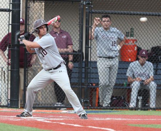 Albertus Magnus' Joe Giudice bats during a game at Briarcliff High School on May 31, 2019.