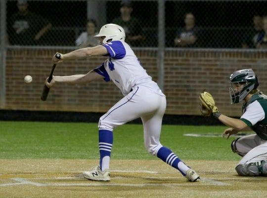 Windthorst's Awtry Blagg bunts against Valley Mills Thursday, May 30, 2019, in Gm 2 of the Region II-2A finals in Kennedale. The Eagles won the series with a 11-9 win in Gm 1 and 9-8 in Gm 2.