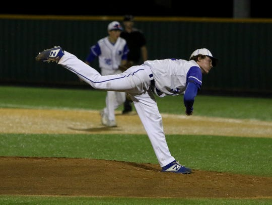 Windthorst's Cy Belcher pitches against Valley Mills Thursday, May 30, 2019, in Gm 2 of the Region II-2A finals in Kennedale. The Eagles won the series with a 11-9 win in Gm 1 and 9-8 in Gm 2.