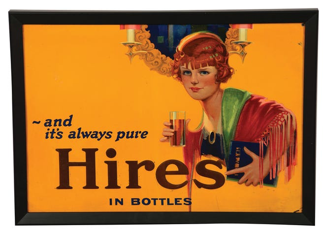 This Hires tin sign, 21 x 15 inches, was originally made without a frame. It sold recently at a Morphy auction for $960.