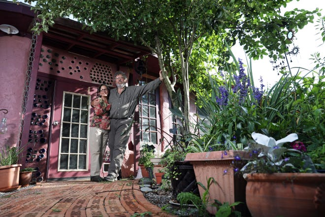 """Jay and Annie Warmke live in what Jay calls """"a house made of trash"""" – Blue Rock Station. Annie and Jay describe their home as """"a living laboratory to test and demonstrate sustainable living concepts and options."""""""