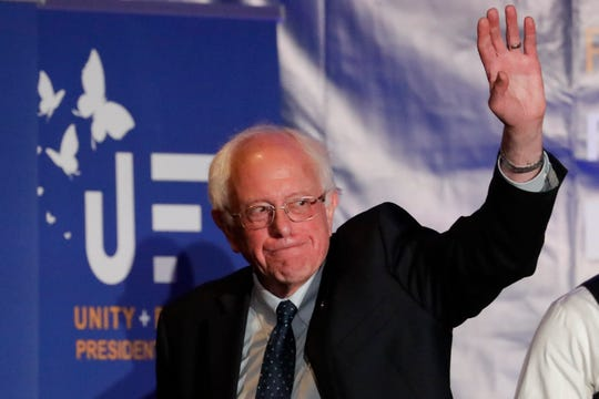 Democratic presidential candidate Sen. Bernie Sanders, I-Vt., waves after a campaign event at the Unity Freedom Presidential Forum Friday, May 31, 2019, in Pasadena, Calif.