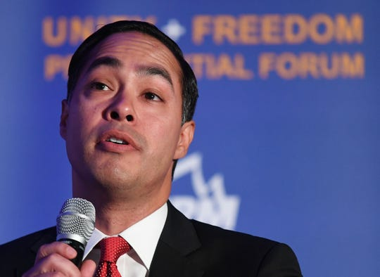 Democratic presidential candidate and former US Secretary of Housing and Urban Development Julian Castro addresses Immigrant-rights organizations at the 'Unity Freedom Presidential Forum' in Pasedena, California