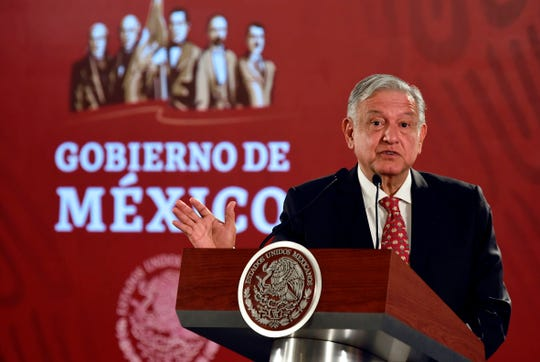 Mexican President Andres Manuel Lopez Obrador offers a press conference at the National Palace in Mexico City on May 29, 2019.