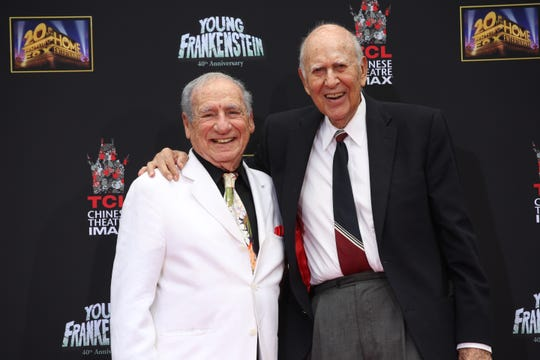 "Best friends Mel Brooks (left) and Carl Reiner recorded their ""Toy Story 4"" parts in Reiner's own living room."