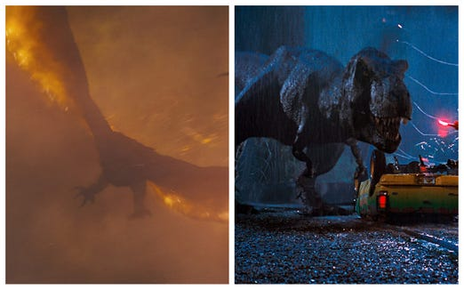 "The fearsome and fiery Rodan (left) might make short work of the iconic Tyrannosaurus rex from ""Jurassic Park."""