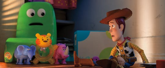 "In ""Toy Story 4,"" Woody (right, voiced by Tom Hanks) finds himself in Bonnie's closet with toys she outgrew long ago: Chairol Burnett (Carol Burnett), Melephant Brooks (Mel Brooks), Bitey White (Betty White) and Carl Reineroceros (Carl Reiner)."