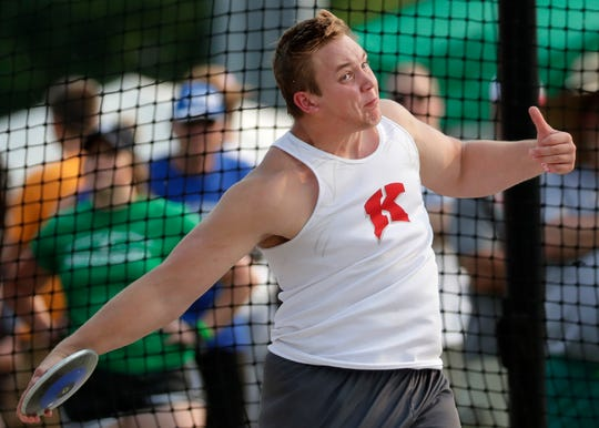 Kimberly's Nick Tomasovic competes in the Division 1 discus during the WIAA state track and field meet Friday in La Crosse.