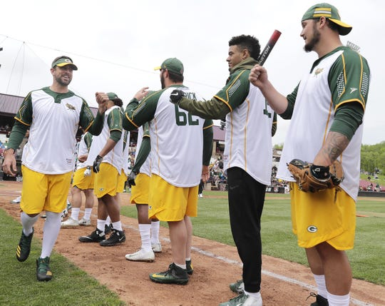 Green Bay Packers' #12 Aaron Rodgers is introduced during the Green & Gold Charity Softball Game on Saturday, June 1, 2019, at Neuroscience Group Field at Fox Cities Stadium in Grand Chute, Wis. The event is a fundraiser for Feeding America Eastern Wisconsin, Make-A-Wish Wisconsin and various youth sports organizations