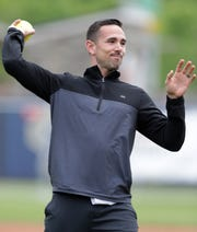 Green Bay Packers' Head Coach Matt LaFleur throws out the first pitch during the Green & Gold Charity Softball Game on Saturday, June 1, 2019, at Neuroscience Group Field at Fox Cities Stadium in Grand Chute, Wis. The event is a fundraiser for Feeding America Eastern Wisconsin, Make-A-Wish Wisconsin and various youth sports organizations
