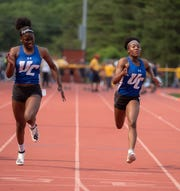 (right) Non-Public A girls 100 dash Sydney Tucker, Union Catholic, 1st place NJSIAA track state group championship at Central Reg. High School. 5/31/19  Photo/James J. Connolly/Correspondent