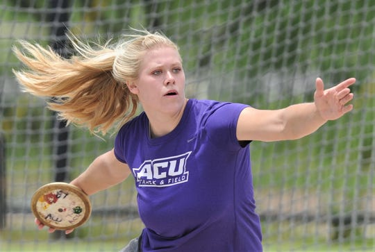 ACU sophomore Annina Brandenburg practices throwing the discus on Thursday, May 30, 2019 at the ACU throwing area. Brandenburg, a sophomore from Dusseldorf, Germany, will compete at the NCAA Division I track and field meet Saturday in Austin.