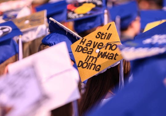 There were some fun messages on the hats of students at the Harper Creek 2019 graduation ceremony on Friday.