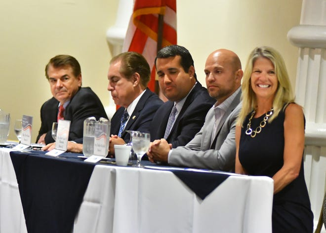 State legislators attending Thursday's State of the State  breakfast at the Space Coast Convention Center in Cocoa were, from left: Rep. Thad Altman of District 52, Sen. Tom Wright of District 14, Rep. Tyler Sirois of District 51, Rep. Rene Plasencia of District 50 and Sen. Debbie Mayfield of District 17.