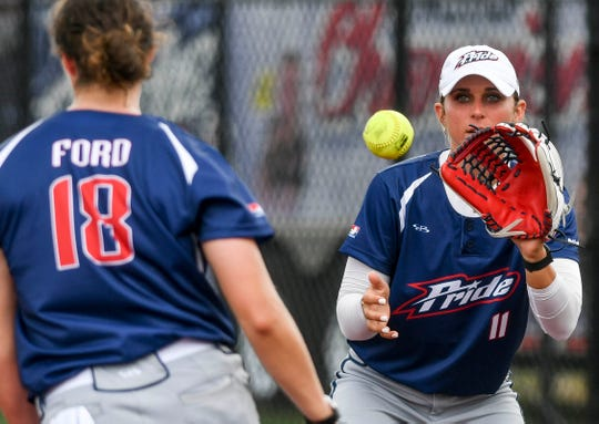 USSSA Pride pitcher Jailyn Ford tosses the ball to !B Alex Powers to make the out during Friday's exhibition game against the Czech National Team.