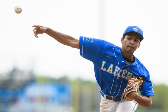 Colchester pitcher Saul Minaya (3) delivers a pitch during the baseball quarterfinal game between the Colchester Lakers and the South Burlington Wolves at South Burlington High School on Friday afternoon May 31, 2019 in South Burlington, Vermont.  (BRIAN JENKINS/for the FREE PRESS)