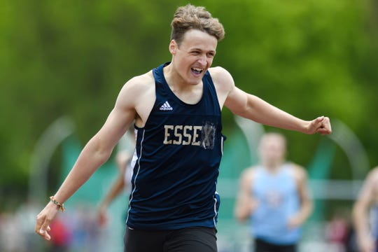 Essex's James Boldosser crosses the finish line in first in the boys 400m race during the high school track and field championships at D.G. Weaver Athletic Complex on Saturday June 1, 2019 in Burlington, Vermont.