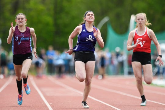 Brattleboro's Maggie Lonardo leads the pack of runners in the girls 100m dash during the high school track and field championships at D.G. Weaver Athletic Complex on Saturday June 1, 2019 in Burlington, Vermont.