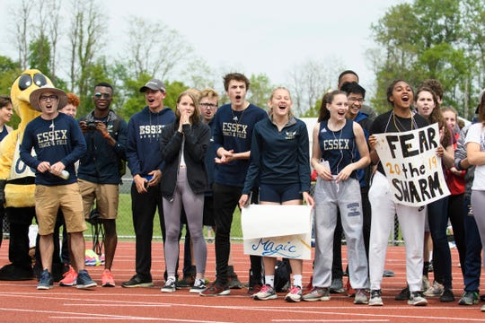 Fans cheer for Essex in the 4x400m relay race during the high school track and field championships at D.G. Weaver Athletic Complex on Saturday June 1, 2019 in Burlington, Vermont.