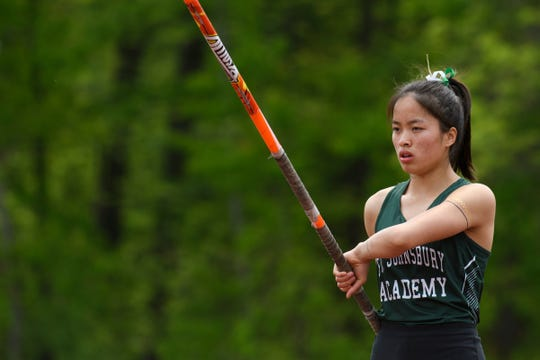 St. Johnsbury's Lia Rotti competes in the pole vault during the high school track and field championships at D.G. Weaver Athletic Complex on Saturday June 1, 2019 in Burlington, Vermont.