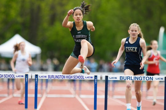 St. Johnsbury's Jen Rotti leads the pack in the girls 300m hurdles during the high school track and field championships at D.G. Weaver Athletic Complex on Saturday June 1, 2019 in Burlington, Vermont.