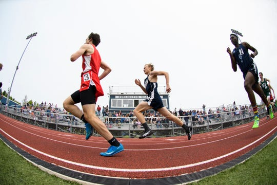 Boys compete in the 800m race during the high school track and field championships at D.G. Weaver Athletic Complex on Saturday June 1, 2019 in Burlington, Vermont.