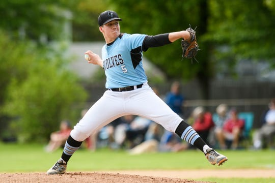 South Burlington pitcher Jack Ambrosino (5) delivers a pitch during the baseball quarterfinal game between the Colchester Lakers and the South Burlington Wolves last May. The senior star was named Gatorade's player of the year on May 21 without throwing a pitch this season.