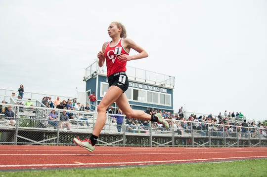 CV's Ella Whitman runs in first place in the girls 3000m race during the high school track and field championships at D.G. Weaver Athletic Complex on Saturday June 1, 2019 in Burlington, Vermont.