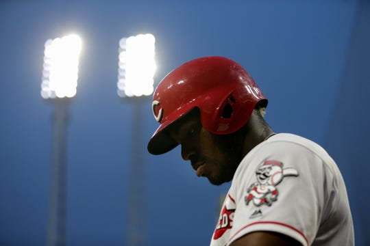Cincinnati Reds right fielder Yasiel Puig (66) walks up the dugout steps in the fifth inning of an MLB baseball game against the Washington Nationals, Friday, May 31, 2019, at Great American Ball Park in Cincinnati. The Cincinnati Reds won 9-3.