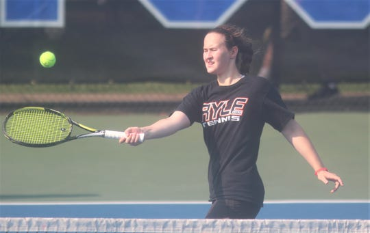 Ryle senior Elizabeth Hamilton hits the ball in the state doubles final, June 1, 2019.