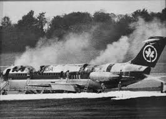 Air Canada Flight 797 burned, killing 23, after making an emergency landing at Cincinnati/Northern Kentucky International Airport on June 2, 1983.