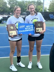 Ryle seniors HaliMae Laurino, left, and Elizabeth Hamilton are the 2019 KHSAA state girls doubles champions.