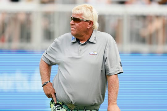 John Daly waits to putt on the 18th green during the second round of the PGA Tour Champions Principal Charity Classic golf tournament, Saturday, June 1, 2019, in Des Moines, Iowa.