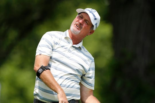 Jerry Kelly watches his shot off the third tee during the second round of the PGA Tour Champions Principal Charity Classic golf tournament, Saturday, June 1, 2019, in Des Moines, Iowa.