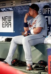 Detroit Tigers first baseman Miguel Cabrera sits in the dugout before being replaced in the lineup during the seventh inning against the Atlanta Braves, Friday, May 31, 2019, in Atlanta.