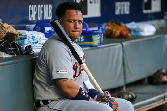 Detroit Tigers first baseman Miguel Cabrera sits in the dugout before a game against the Atlanta Braves at SunTrust Park, May 31, 2019 in Atlanta.