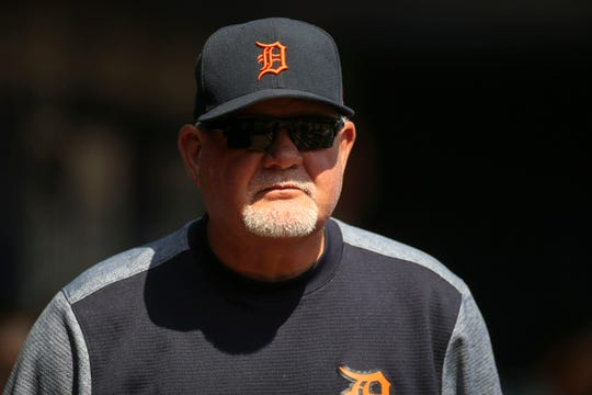 Detroit Tigers manager Ron Gardenhire in the dugout before a game against the Atlanta Braves at SunTrust Park, Saturday, June 1, 2019, in Atlanta.
