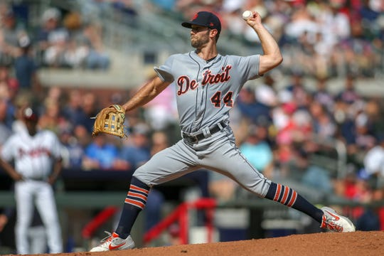 Detroit Tigers starting pitcher Daniel Norris throws against the Atlanta Braves in the third inning at SunTrust Park, Saturday, June 1, 2019, in Atlanta.