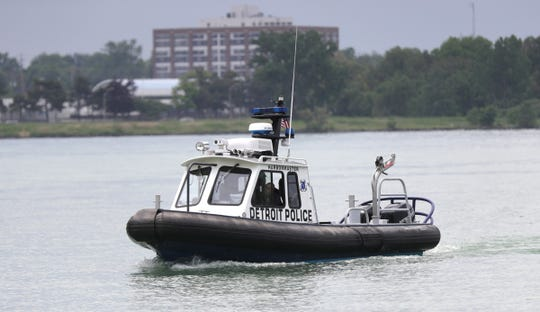 A Detroit Police boat patrols the Detroit River on June 1, 2019.