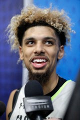 Brian Bowen smiles as he speaks with the media at the NBA draft combine in Chicago, May 16, 2019.