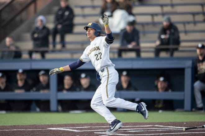 Michigan's Jordan Brewer hits a 2-run home run against Western Michigan on March 18, 2019 at Ray Fisher Stadium in Ann Arbor.