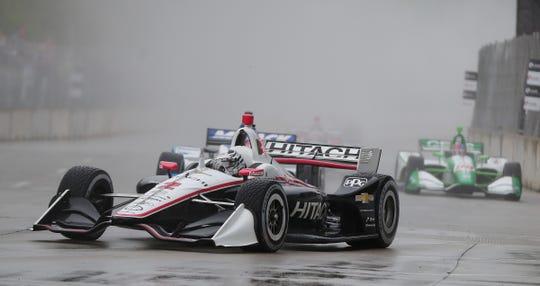 Josef Newgarden drives the #2 Team Penski Chevrolet to victory in the Detroit Grand Prix, Saturday, June 1, 2019 on Belle Isle in Detroit.