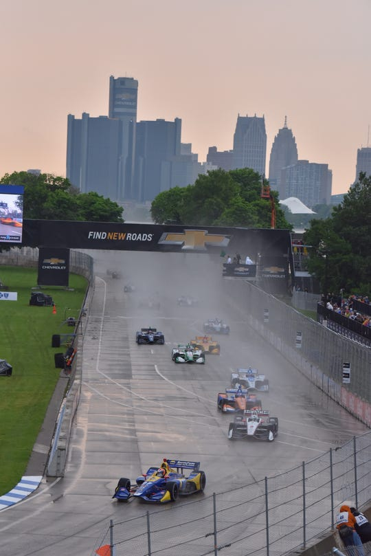 The Detroit Grand Prix Dual 1 starts on Belle Isle Saturday after an 1 1/2-hour delay due to a thunderstorm.