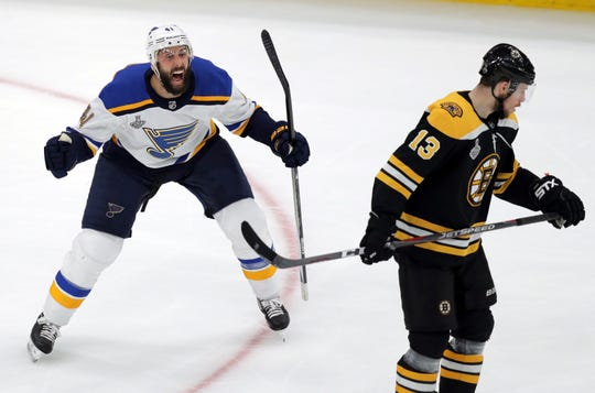 Robert Bortuzzo, left, and the Blues will host the first Stanley Cup Final game in St. Louis since May 19, 1970 on Saturday night.