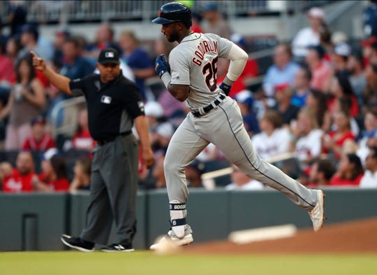 Detroit's Niko Goodrum rounds the bases after hitting a solo home run in the third inning of Friday's 8-2 win over the Braves.