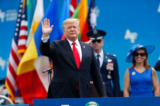 President Donald Trump waves as he takes the stage to speak at the U.S. Air Force Academy graduation Thursday, May 30, 2019 at Air Force Academy, Colo.