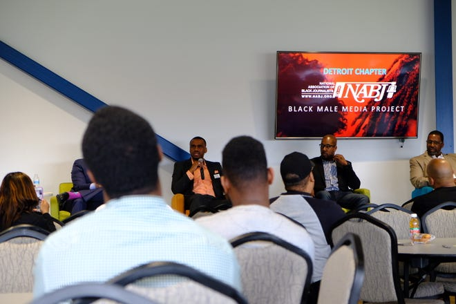 Dr. Karlin J. Tichenor of Karlin J. & Associates speaks to the crowd at Detroit PAL June 1, 2019 talking on the importance of removing the social stigma around black men and mental health.