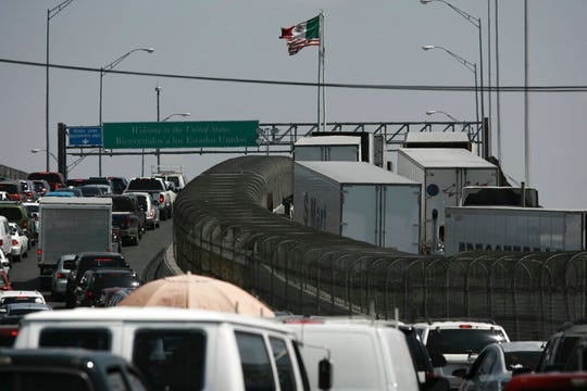 Trucks line up at the Cordova - Las Americas international bridge to cross with their cargo from Mexico into the United States, in Ciudad Juarez, Mexico, Friday, May 31, 2019. President AndrÃs Manuel López Obrador said Friday that Mexico won't panic over U.S. President Donald Trump's threat of coercive tariffs, measures that economists say could have dramatic consequences for both nations and potentially spur a full-blown trade war.